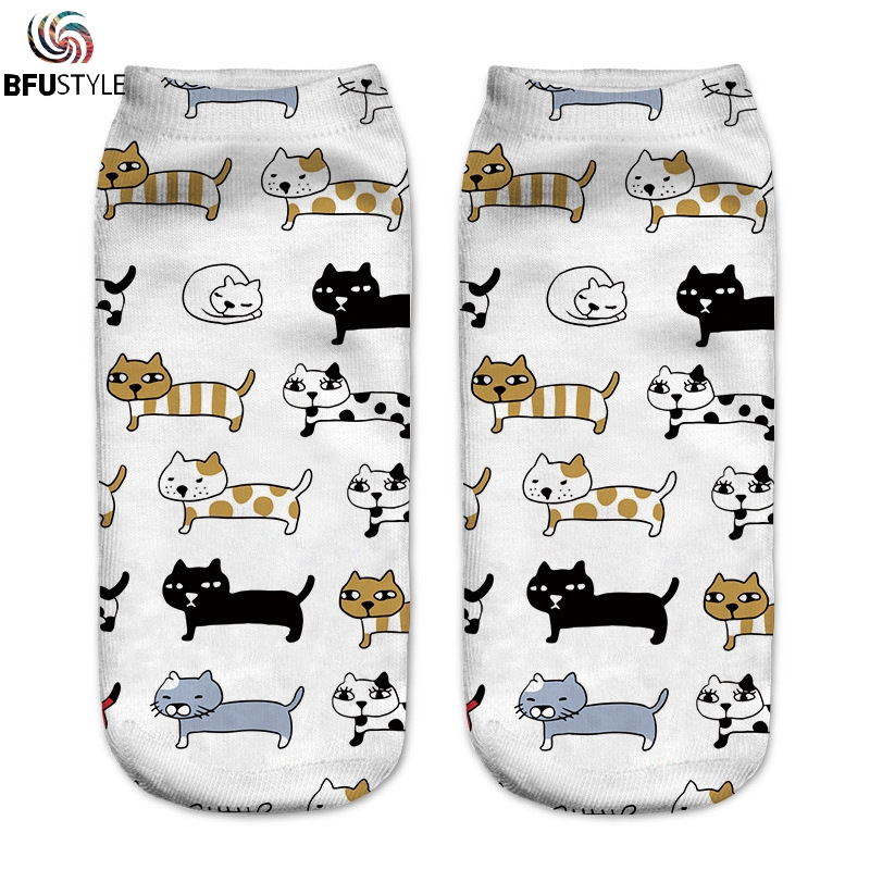 Cat Socks Men Women 2018 New Fashion Hip Hop Compression Socks Calcetines Hombre 3D Funny Dog Print Cotton Ankle Art Socks