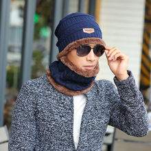 2017 Arrival Beanies With Scarf Knitted Hat Men's Winter Hats For Men Caps Warm Moto Fur Winter Beanie Fleece Knit Bonnet Hat