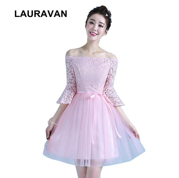 6ad5d79ae90c3 US $35.1 |semi formal fashion womens girls pink lace up back party dress  new new arrival bridesmaid 2018 gown ball women free shipping-in Bridesmaid  ...