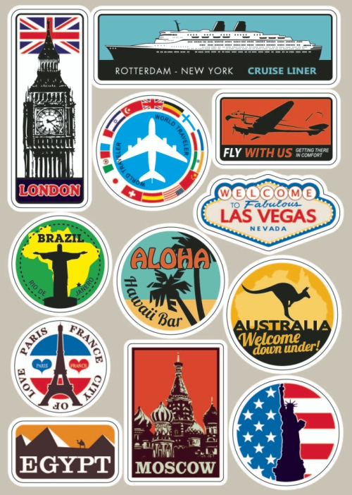 Waterproof Removable Car Sticker Styling World Traveller Vintage Travel Stickers for Suitcases Luggage Laptop Guitar PVC Sticker цена и фото