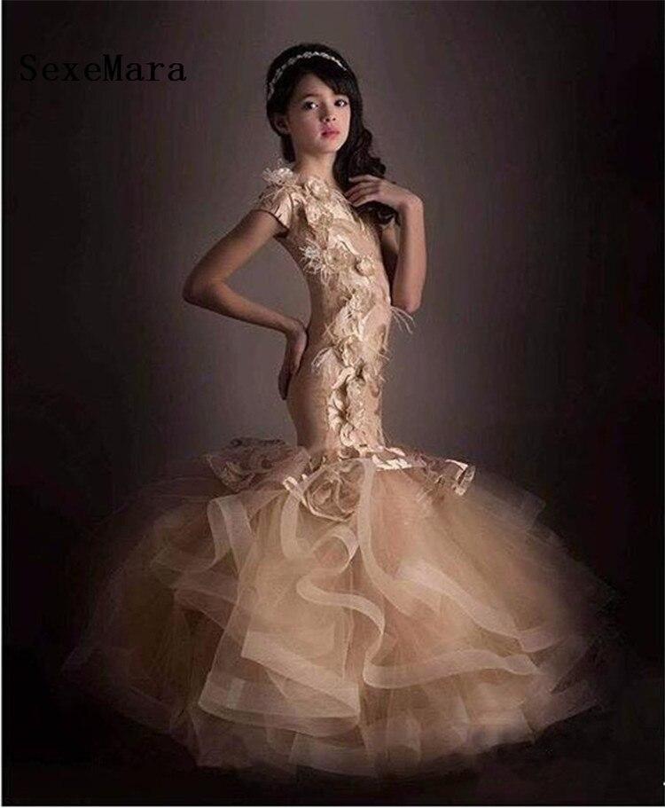Роскошные Шампанское платье с цветочным узором для девочек свадеб Русалка с коротким рукавом нарядные платья перо аппликации Выпускные пл