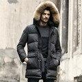 Homens Jaqueta de inverno Pato Branco Para Baixo Casacos Longos Manter Aquecido casaco grosso dos homens Casuais Para Baixo Casaco Jaquetas parka Marca homme nova