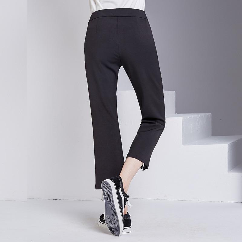 bootyjeans spring 2018 new European high-end women's slim black all-match split ankle length pants casual bottom pants 29