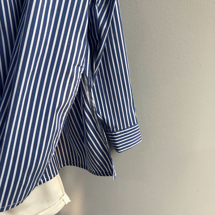 Spring New Blue Striped Loose Metal Button Shirt Female 2518