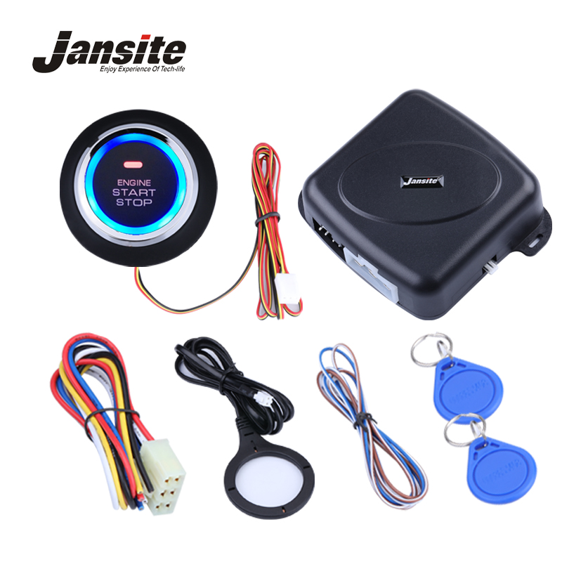 Jansite Smart Car Engine Push Start Stop Button RFID Lock Ignition Keyless Entry System Auto Start Stop Immobilizer Starline easyguard pke car alarm system remote engine start stop shock sensor push button start stop window rise up automatically