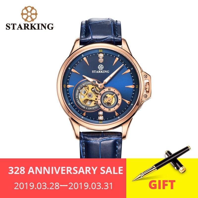 STARKING Rétro Bleu montres homme Top Marque De Luxe De Mode montre-bracelet pour homme Saphir Automatique montre mécanique Relogio Masculino