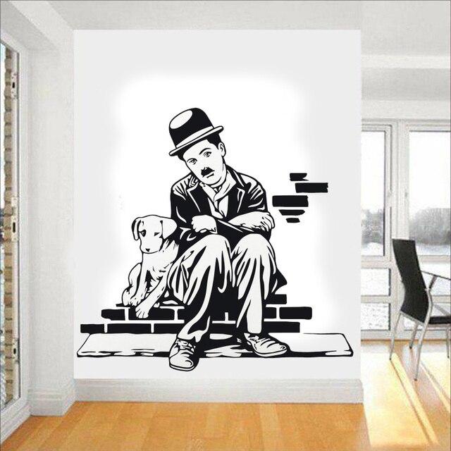Art Decor Charlie Chaplin And Dog Life Wall Stickers Vinyl Movie ...