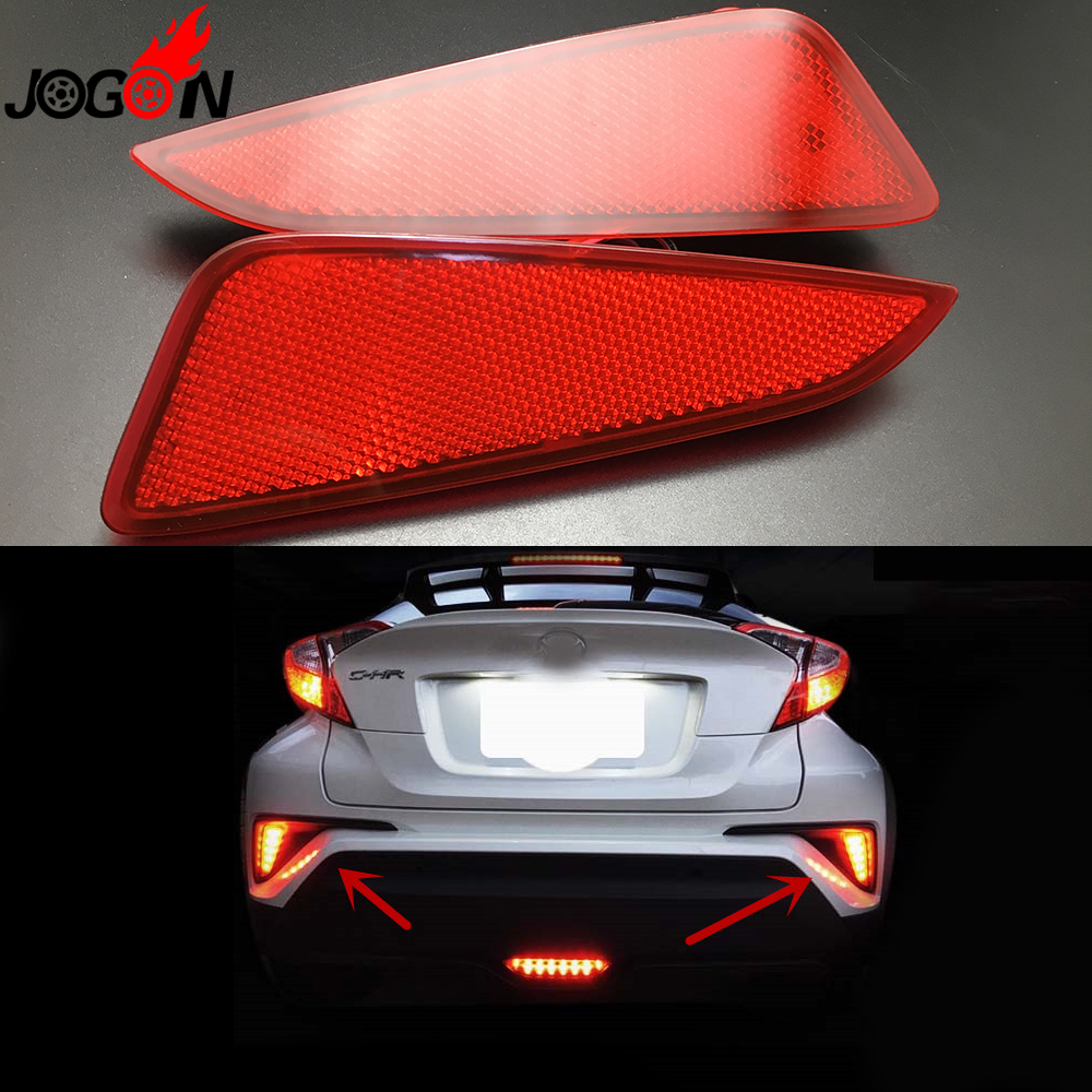For Toyota C-HR CHR 2016 2017 Car Rear Brake LED Fog Light Reflector Stop Tail Red Lamp Assembly Anti Chasing Foglights 2PCS/set