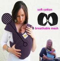 Double Loops Breathable Mother Kangaroo Type Baby Carrier Wrap With Belt Four Seasons Available Elastic Free