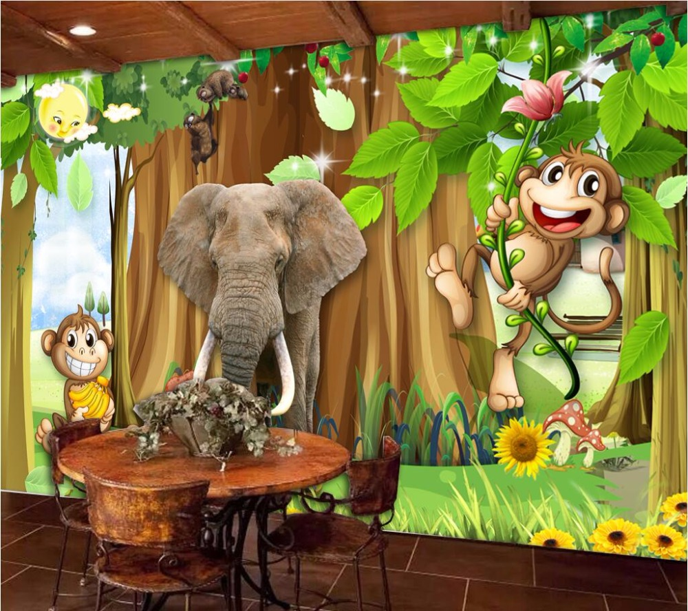 compare prices on forest wall murals wallpaper online shopping custom photo mural 3d wallpaper picture children room cartoon forest animal decor painting 3d wall mural