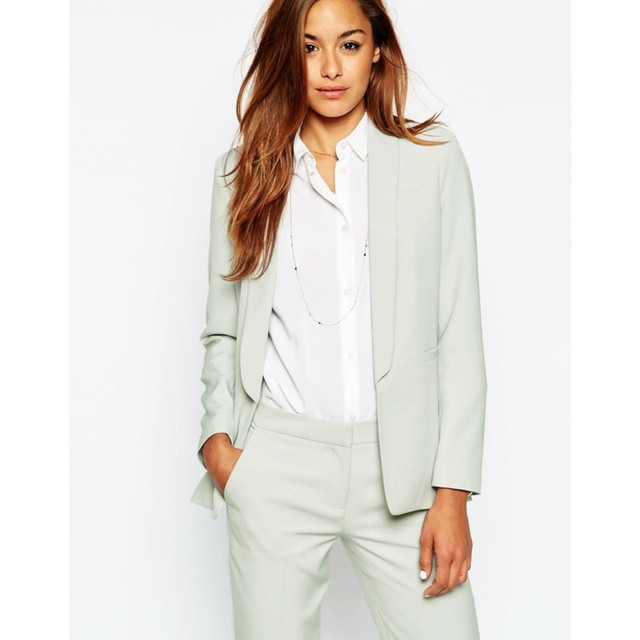 New Womens Business Suits Light Mint Green Formal Pant Suits For Weddings  Tuxedos Shawl Lapel Suits For Women One Button-in Women s Sets from Women s  ... 7064e2218d57