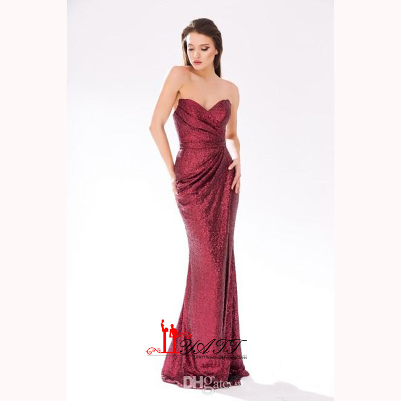 2017 Luxury Rose Gold Wine Red Long Sequin Evening Dress Sweetheart Cheap  Evening Gowns Sexy Mermaid Prom Party Formal Dresses -in Evening Dresses  from ... 42b0d22feddd