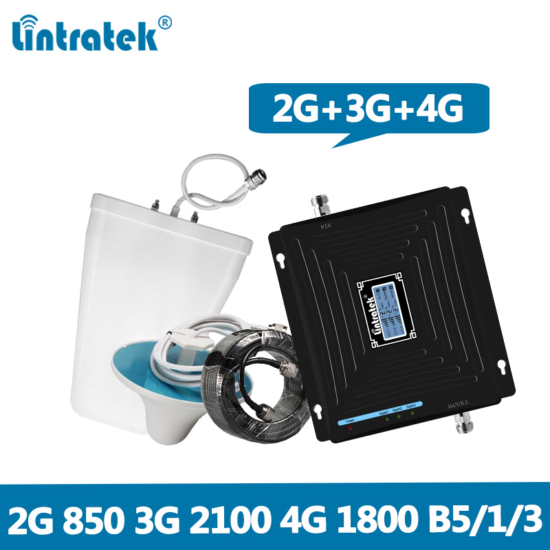 Lintratek Repeater 850 1800 2100Mhz 2G 3G 4G Signal Booster CDMA 850Mhz LTE 1800 3G 2100Mhz
