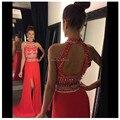 123013 W Moda de Alta Cuello Piso-Longitud Vestidos de fiesta Moldeado Cristalino de Split Vestidos de Noche Rojo 2017 de Dos piezas de Baile vestidos