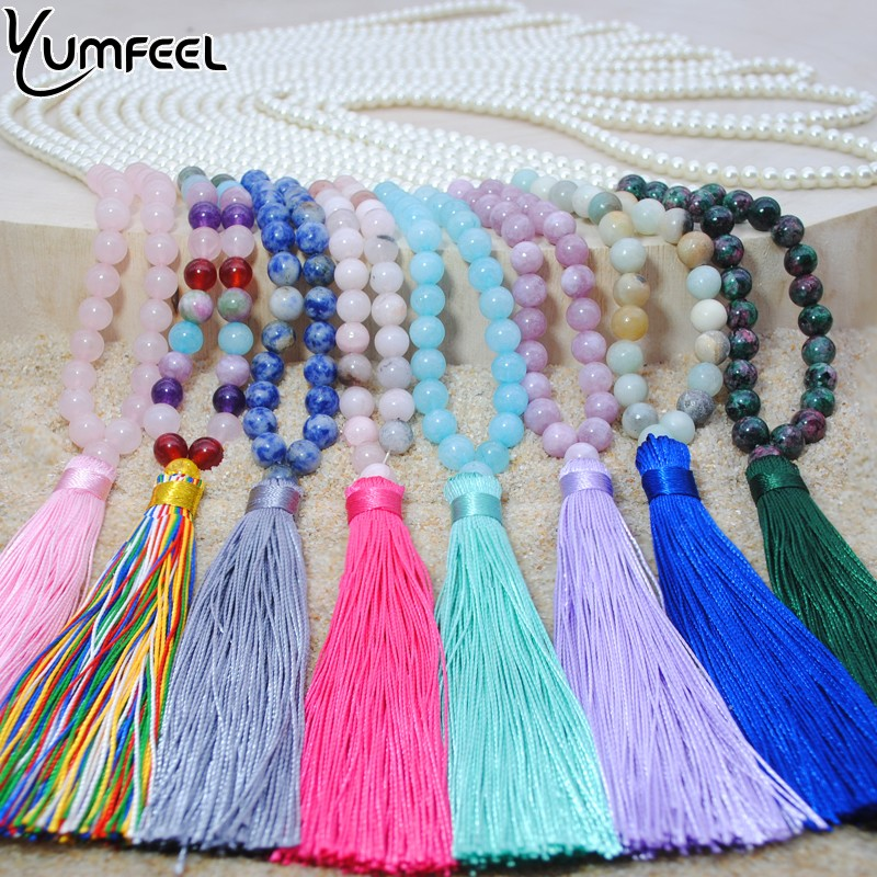 Yumfeel 2019 Brand New Long Beaded Tassel Necklace 18 Colors Natural Stone
