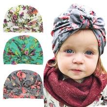 Детские узел шляпе хлопок шапки-унисекс муслин индийские шляпы Цветочный принт для мальчиков и девочек Подставки для фотографий Детские аксессуары 2018 Новый