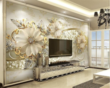 beibehang Fashion high quality wallpaper stereo luxury gold European pattern jewelry TV background papel de parede 3d