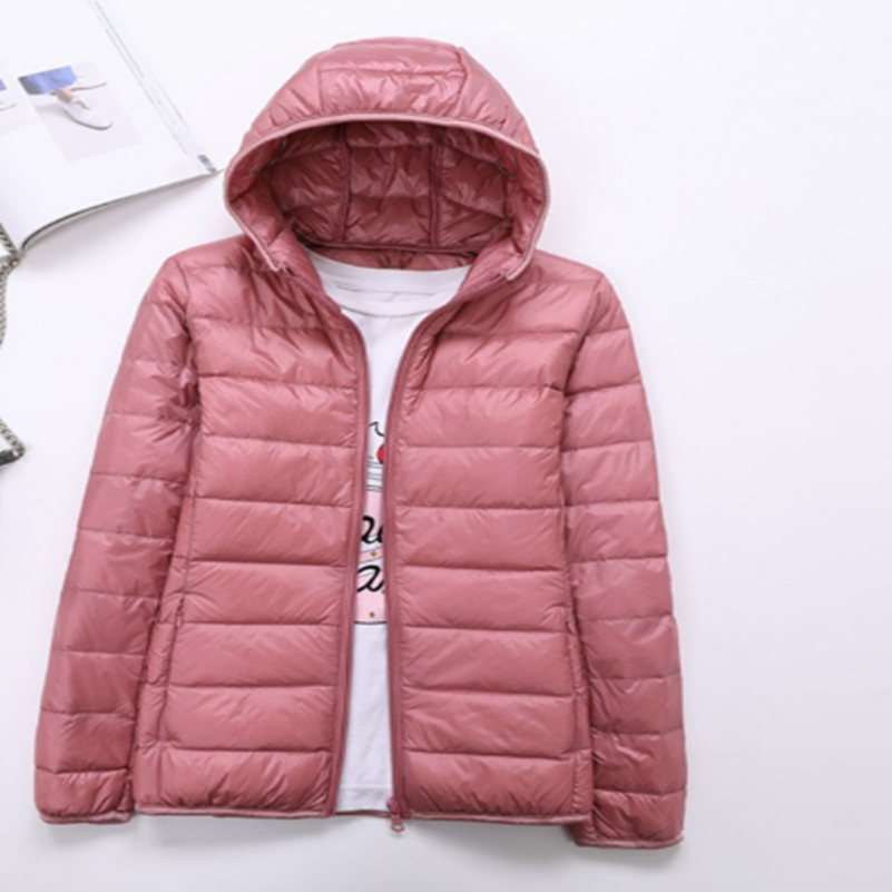 Pregnant women's down jacket 2018 light weight down jacket, female short, new hat and hat, body cultivation, code size jacket, o pu leather and corduroy spliced zip up down jacket