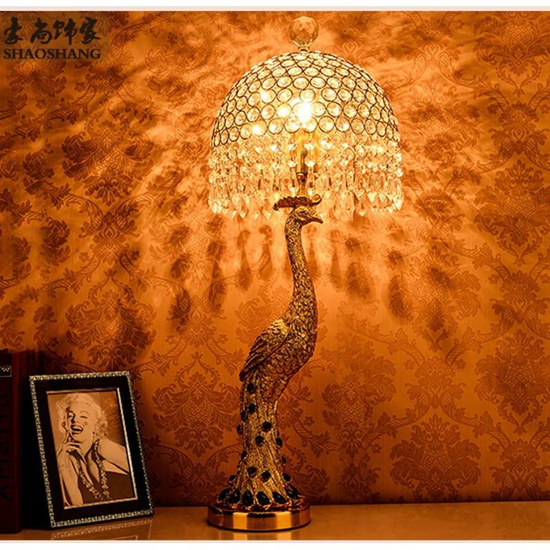 Módní ušlechtilý zlatý rezin páv stolní lampa domácí deka ložnice noční stolek zelený krystal E27 žárovka stropní světlo