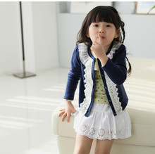 Hot Sale Fashion Lace Collar Girl Sweater Top Cotton Polyester Thin Long Sleeve Girls Cardigan Girl's Clothing KC-1538