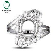 CaiMao Oval cut Semi Mount Ajustes do Anel   0.65 ct Diamante 14 k Ouro  Branco Gemstone Anel de Noivado Fine Jewelry 0ce65148b9