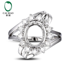 CaiMao  Oval  cut Semi Mount Ring Settings &  0.65 ct  Diamond 14k  White Gold Gemstone Engagement Ring Fine Jewelry
