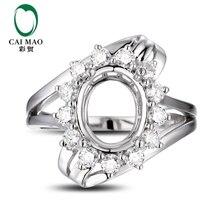 CaiMao  Oval  cut Semi Mount Ring Settings &  0.65 ct  Diamond 14k  White Gold Gemstone Engagement Ring Fine Jewelry