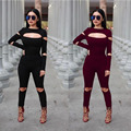 2017 Women Bodysuit Rompers Womens Jumpsuit Long Sleeve Ladies Sexy Full Length Fitness Bodycon Club Jumpsuits American Apparel