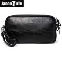 JASON TUTU 2019 New Listing Casual Men leather bag Clutch wallets purse Unisex Women handbag phone bag Bolsas free shipping B532