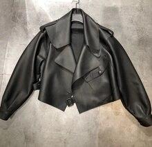2019 Hot Spring Design Ladies Wears Black Bomber Jacket Loose Oversize Girls Coat Genuine Sheepskin Short Leather Jacket Women