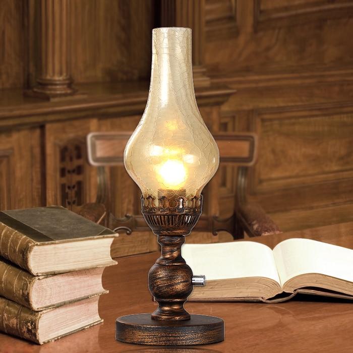 Vintage kerosene table lamp in european style large size - Lamp height for bedroom night table ...