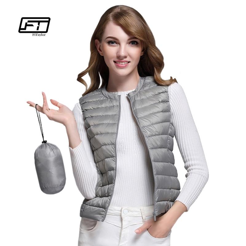 Fitaylor New Women 90% White Duck Down Vest Women Ultra Light Duck Down Vest Jacket Autumn Winter Round Collar Sleeveless Coat