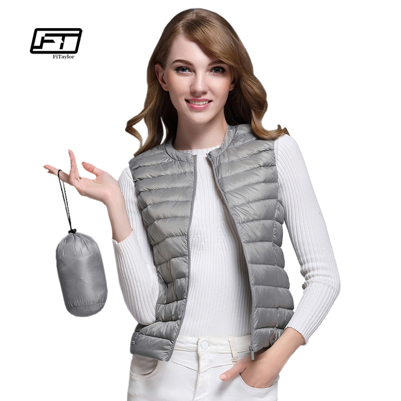 Fitaylor New Women 90% White Duck   Down   Vest Women Ultra Light Duck   Down   Vest Jacket Autumn Winter Round Collar Sleeveless   Coat