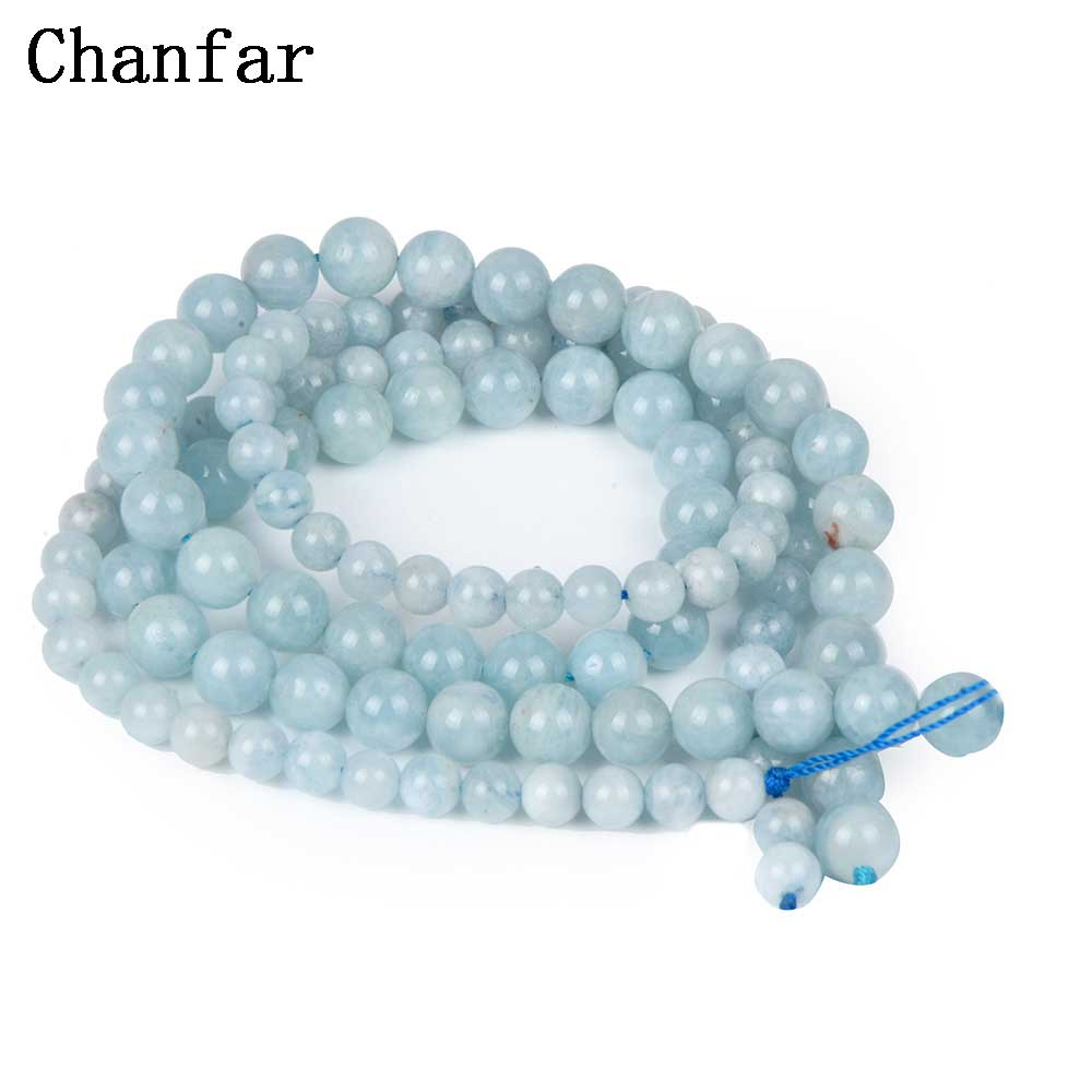 Aqua Stone Semi-precious Stone Beads Women Jewelry DIY Fashion Making Beads 6 8mm