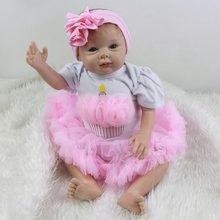 Lifelike Mohair Reborn Baby Dolls 22 Inch Princess Girl Babies Realistic Silicone Doll Toy With Full Silicone Arms For Sale