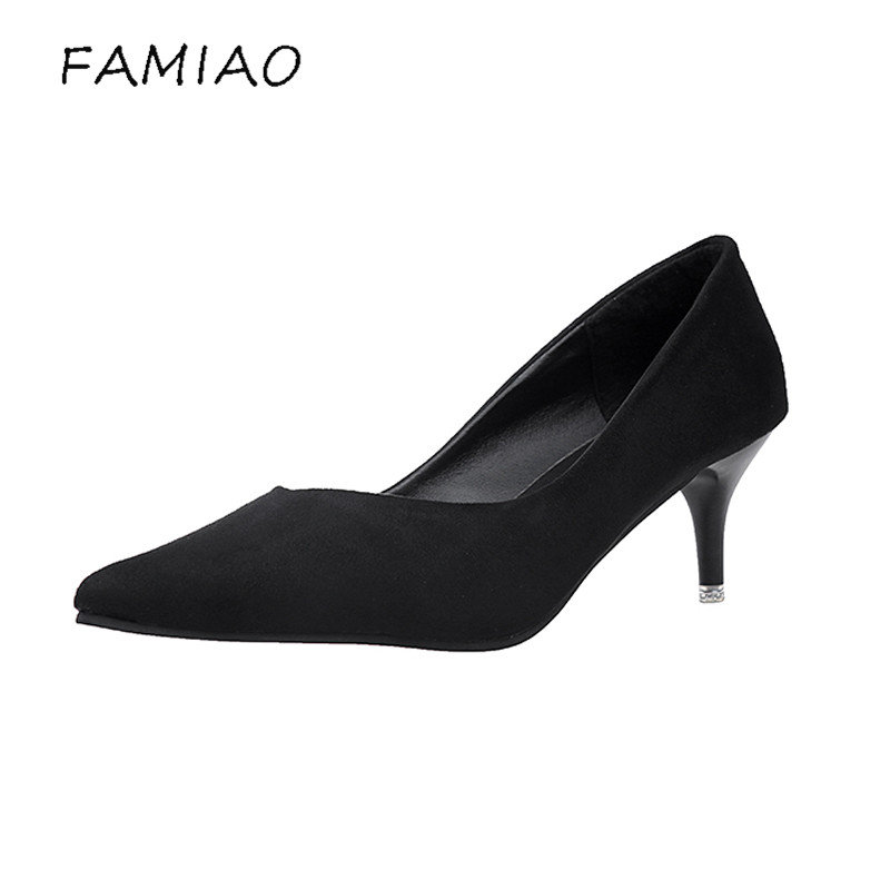 FAMIAO women pumps flock black red wedding shoes high heel 2017 party chaussure femme talon Club Stiletto Shoes sexy shoes burgundy gray saphire blue pink women dress party career work shoes flock shallow mouth stiletto thin high heel pumps