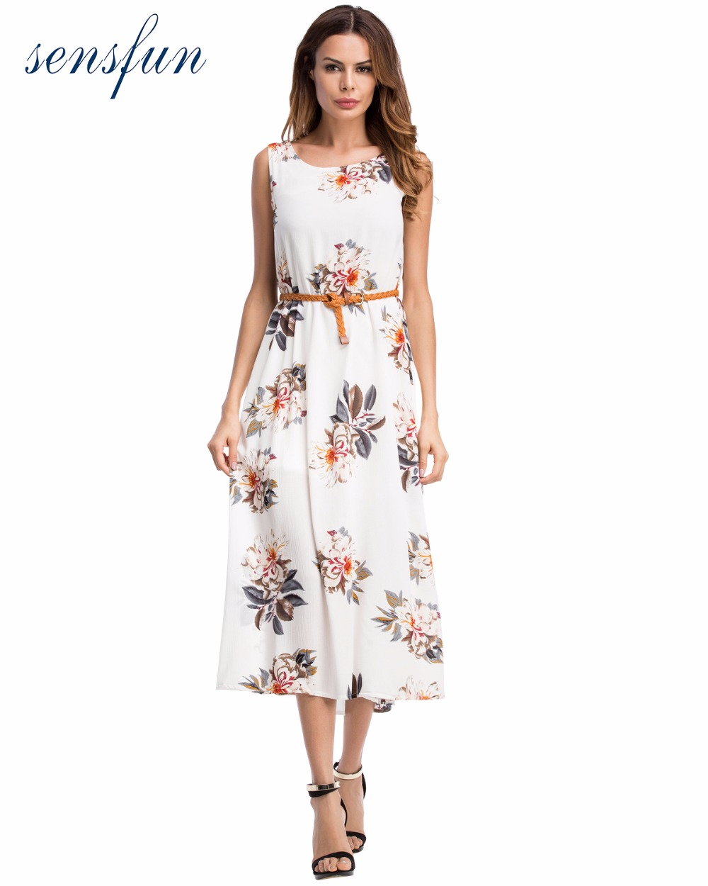 Sensfun Summer Dress 2017 Women Cotton Vintage Dress Casual Dress Swing With belt Floral Vestidos Retra Party Dresses Sundress
