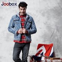 JOOBOX 2017 New Men Denim Jacket Hooded Trench Coat Men Plus Velvet Jeans Jackets Washed Men