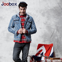 JOOBOX 2017 New Men Denim Jacket Hooded Trench Coat Men Plus Velvet Jeans Jackets Washed Men