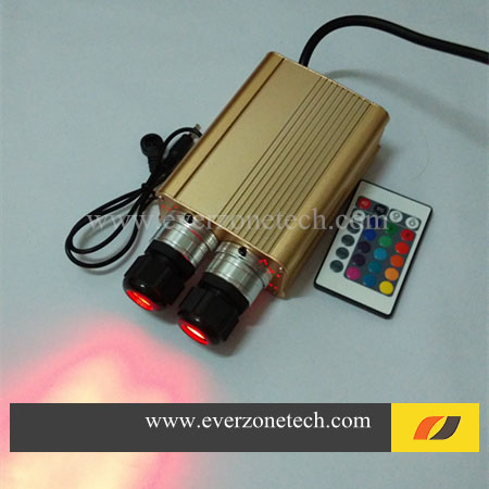 High Quality 16w Double Head LED Fiber Optic Light Engine with IR Controller 2016 newest touching panel controller 16w rgbw led optic fiber light engine 150pcs 0 75mm 2meter optic fiber diy light