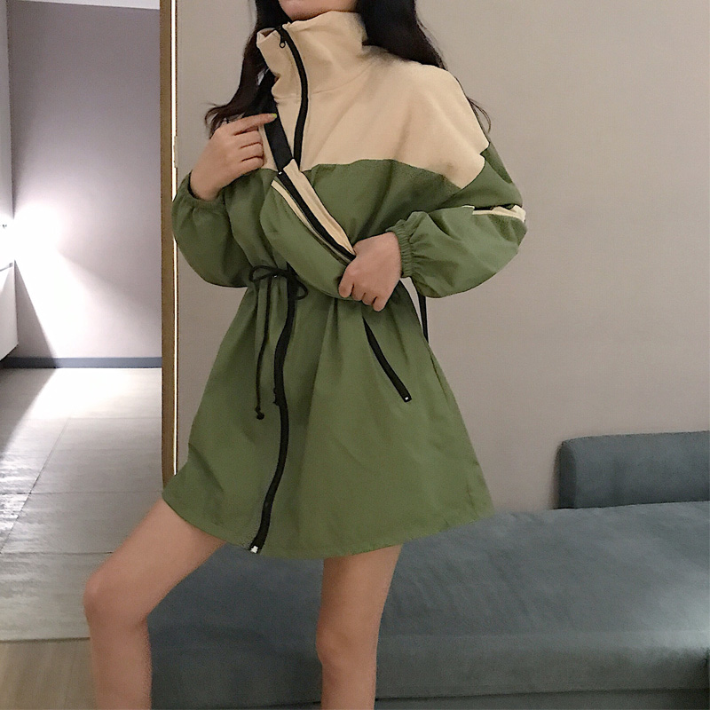 MVGIRLRU Loose Color Stitching High Collar Casual Coat Mid-length Waist Drawstring Windbreaker Jacket Woman