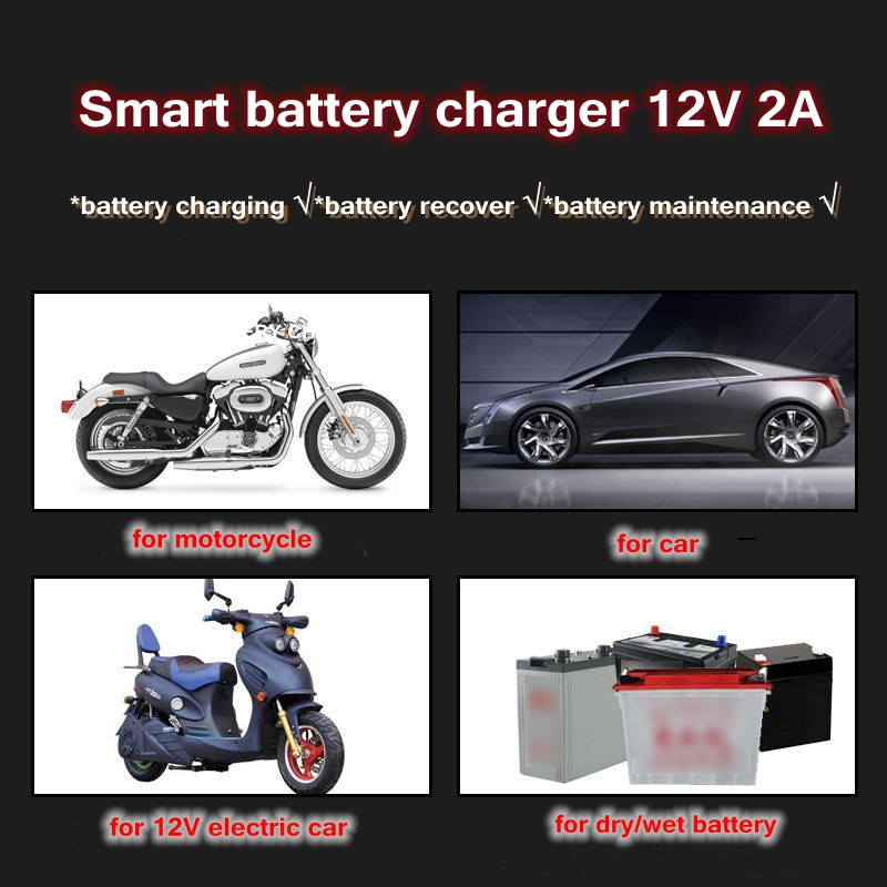 New-12V-2A-Motorcycle-Charger-Storage-Lead-Acid-Battery-Adapter-Power-Supply-Automatic-Motorcycle-Car-Charger