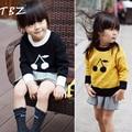 TBZ Cereja Projeto Da Menina Do Bebê de Malha Blusas 2016 Crianças Outono inverno Algodão Camisola Top Brabd Alta Qualidade 2 Cores Meninos camisola