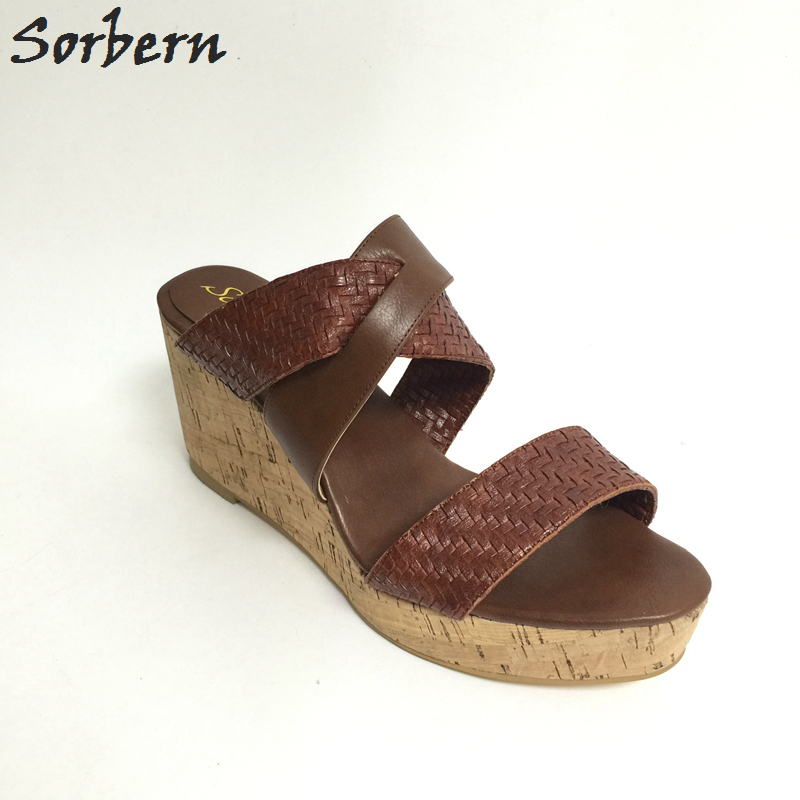 Sorbern Brown Sandal Platform Women Wedge Slides Open Toe Plus Size US14 Ladies Causal Shoes Slippers Zapatos Plataforma Mujer парик каре платиновый блонд playfully platinum