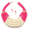 Multi Layers African Beads Jewelry Set Nigerian Wedding African Beads Crystal Jewelry Sets Adornment Beads Necklace Set
