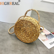 Lady Fresh Handbag Summer Beach Tote khaki Handmade Rattan Woven Round Handbag Vintage Retro Straw Knitted Messenger Bag