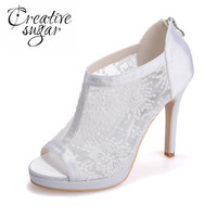 Fashion Women S See Through Sandal Boots Open Toe Shoes Stiletto Lace Dress Cutout Sexy Party