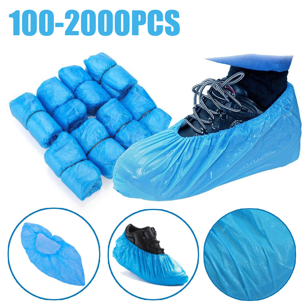 100-2000PCS Hot Sale Medical Waterproof Anti Slip Boot Covers Plastic Disposable Shoe Covers Overshoes Safety Drop Shipping