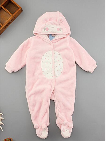 Al por menor recién nacido coral polar de manga larga del mameluco encapuchado, bebé niñas niños mono otoño e invierno recién nacido ropa toddle