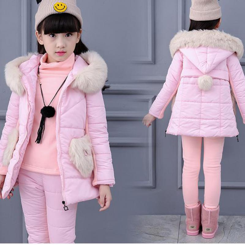 Russian Winter Snowsuits 2017 Baby Girls Winter Children Girls Clothing Sets Children Clothing Vest + Sweatshirts + Pants 3 Pcs школьная книга russian books 0 1 3 russian book for children